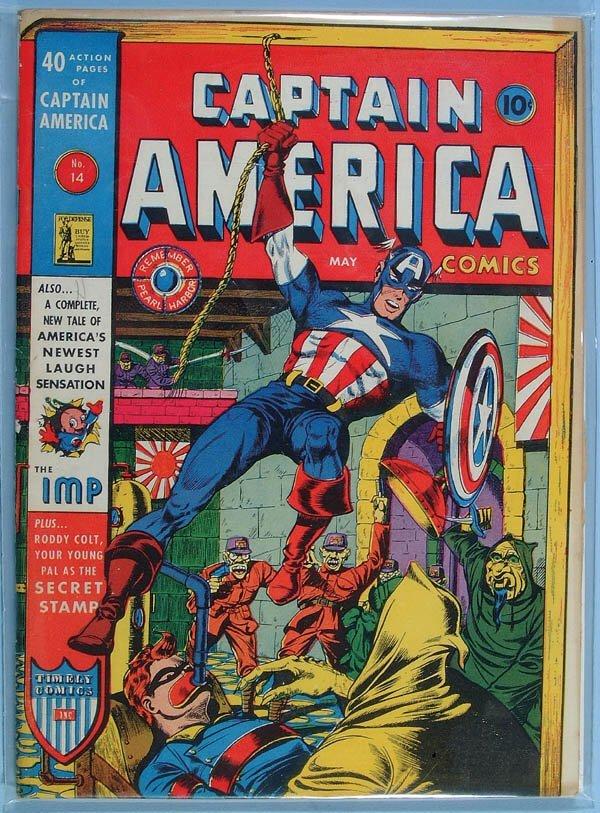 1166: CAPTAIN AMERICA COMIC BOOK #14, 1942. Tight and s