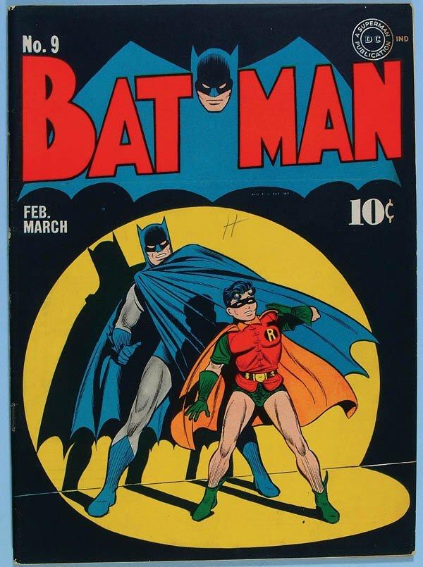1168: BATMAN COMIC BOOK #9, 1942. Gorgeous black cover