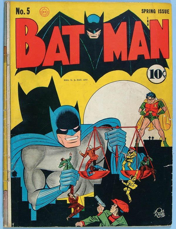 1169: BATMAN COMIC BOOK #5, 1941. Solid with off white/
