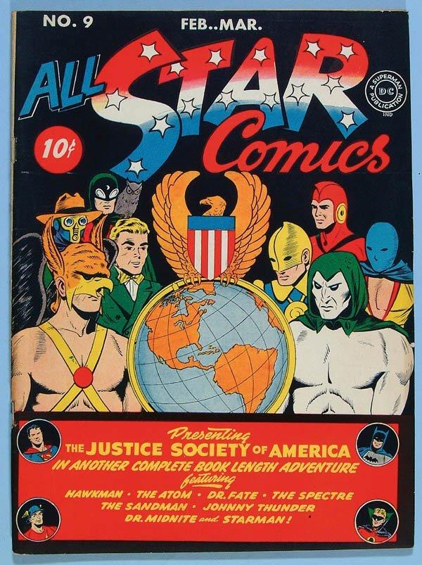 1179: ALL STAR COMICS #9, 1942. Gorgeous deep color on
