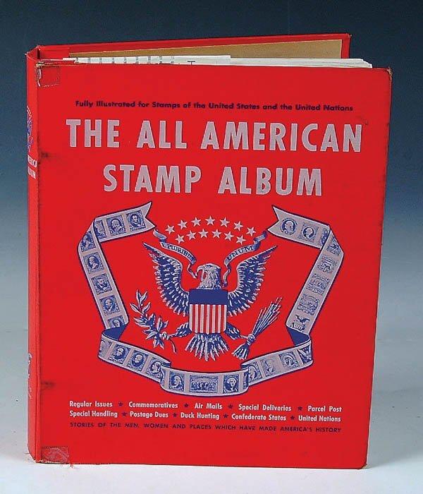 1477: A MINKUS ALL AMERICAN STAMP ALBUM.  Extensive.  C