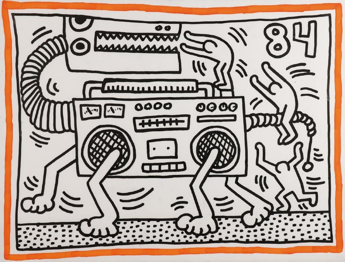 ICONIC KEITH HARING SIGNED & DATED 1984