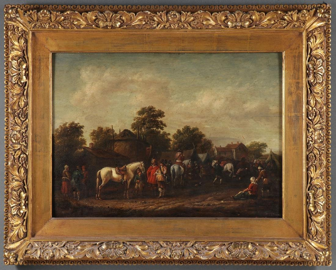 SIGNED DUTCH OIL ON OAK PANEL PAINTING - 2