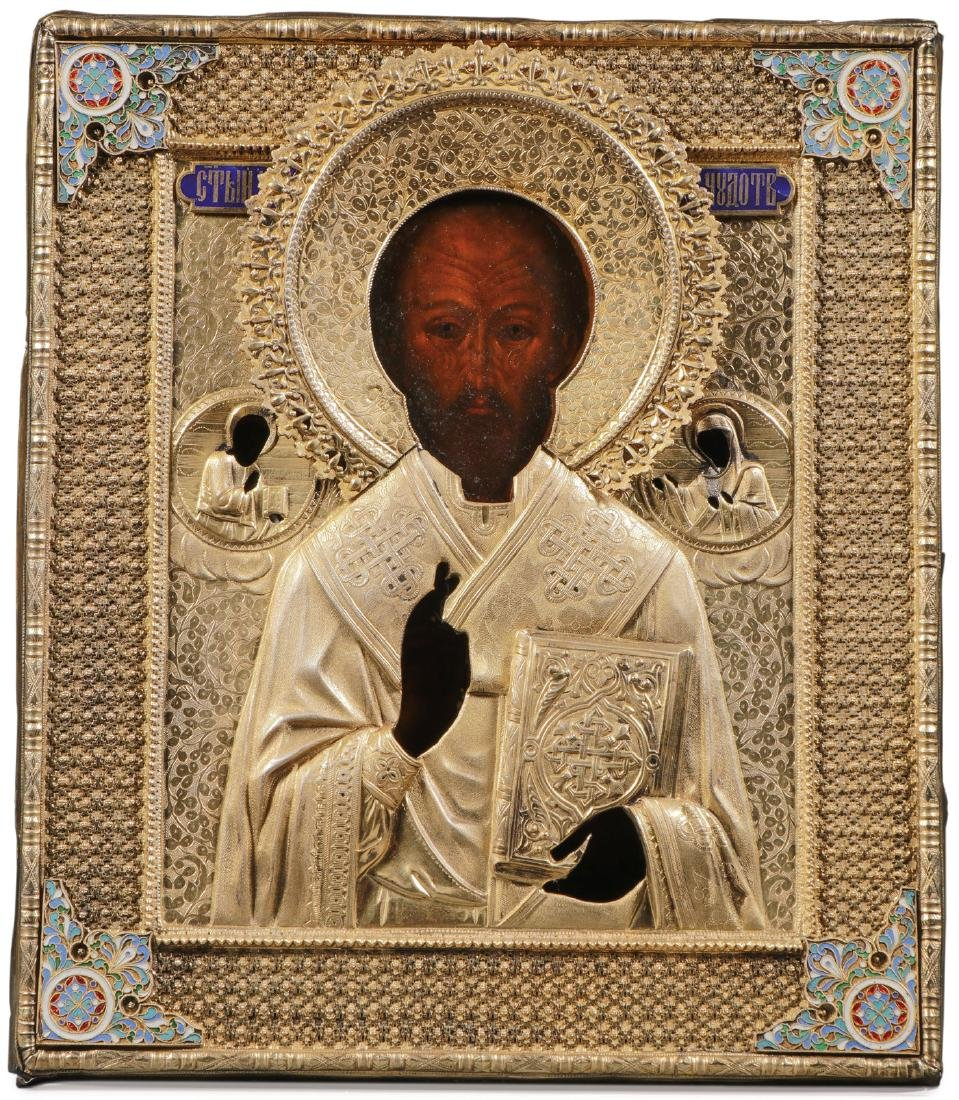 A RUSSIAN ICON OF ST. NICHOLAS, MOSCOW, 1887