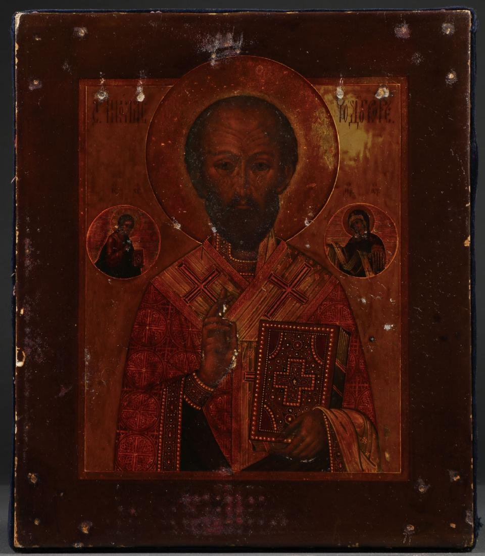 A RUSSIAN ICON OF ST. NICHOLAS, MOSCOW, 1887 - 2