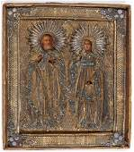 A RUSSIAN ICON OF SELECTED SAINTS, CIRCA 1800