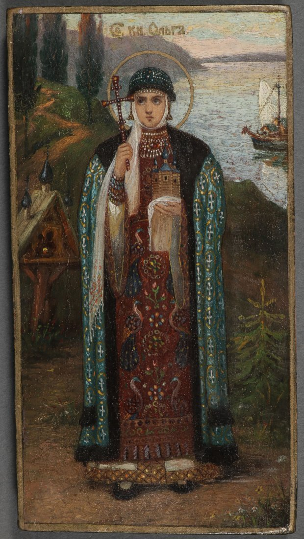 A RUSSIAN ICON OF SAINT OLGA, CIRCA 1890