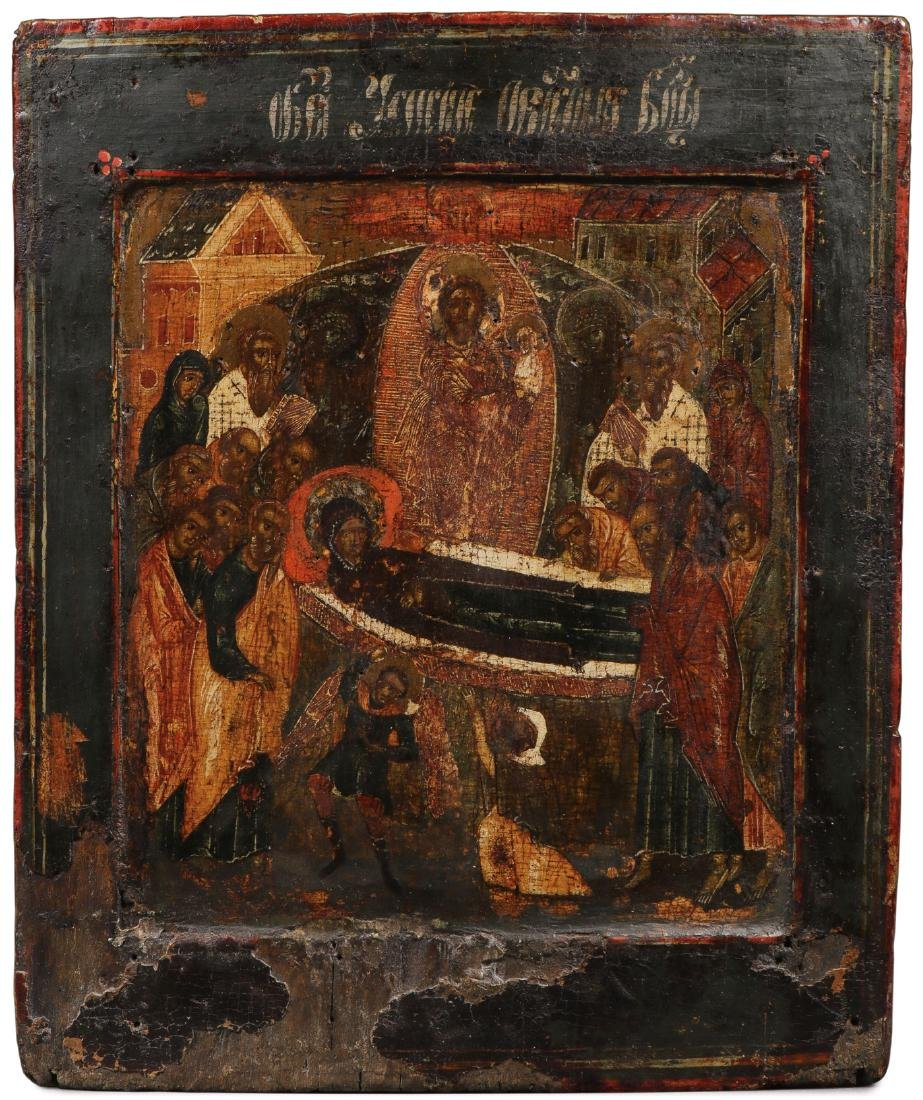 A RUSSIAN ICON OF THE DORMITION, C. 1625
