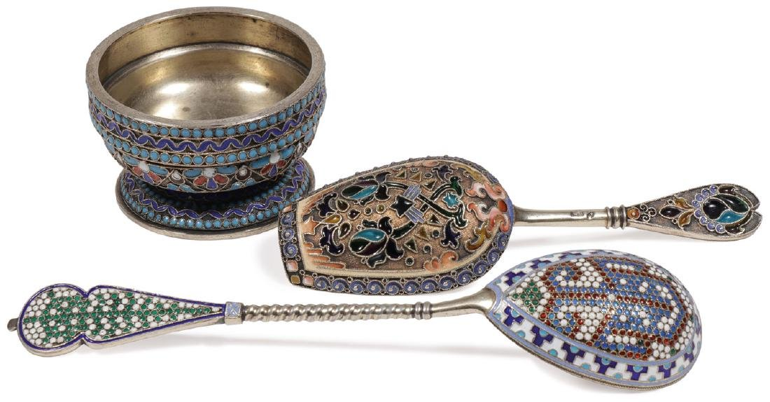 GROUP OF RUSSIAN SILVER & ENAMEL, MOSCOW C. 1890