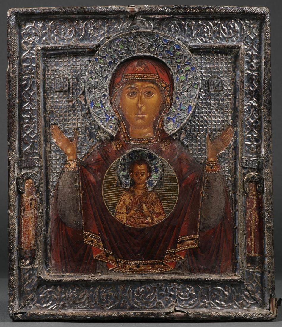 RUSSIAN ICON OF THE SIGN MOTHER OF GOD, 17 C