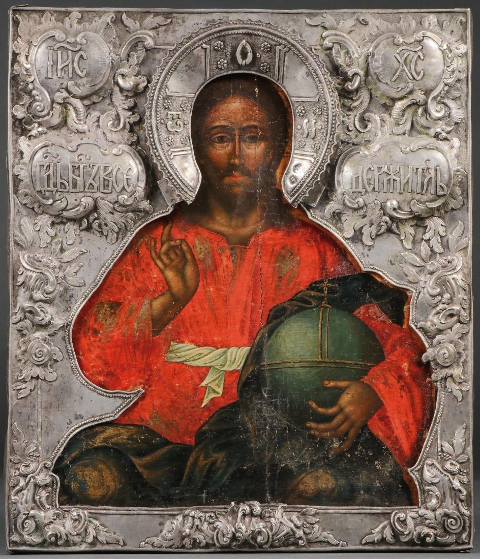 A ROCOCO RUSSIAN ICON OF CHRIST, 1779