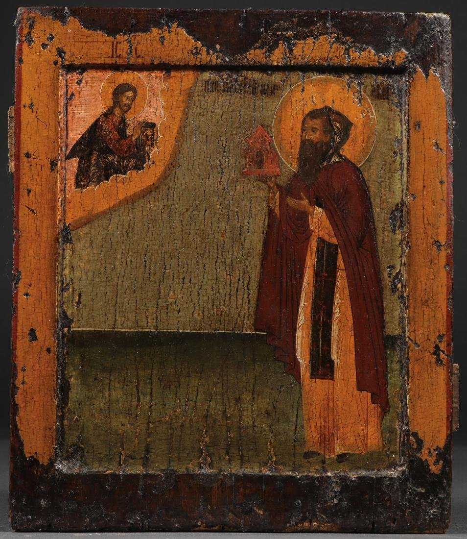RUSSIAN ICON OF A MONASTIC SAINT, 17TH C.