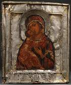 RUSSIAN ICON OF THE VLADIMIR MOTHER OF GOD, 18 C