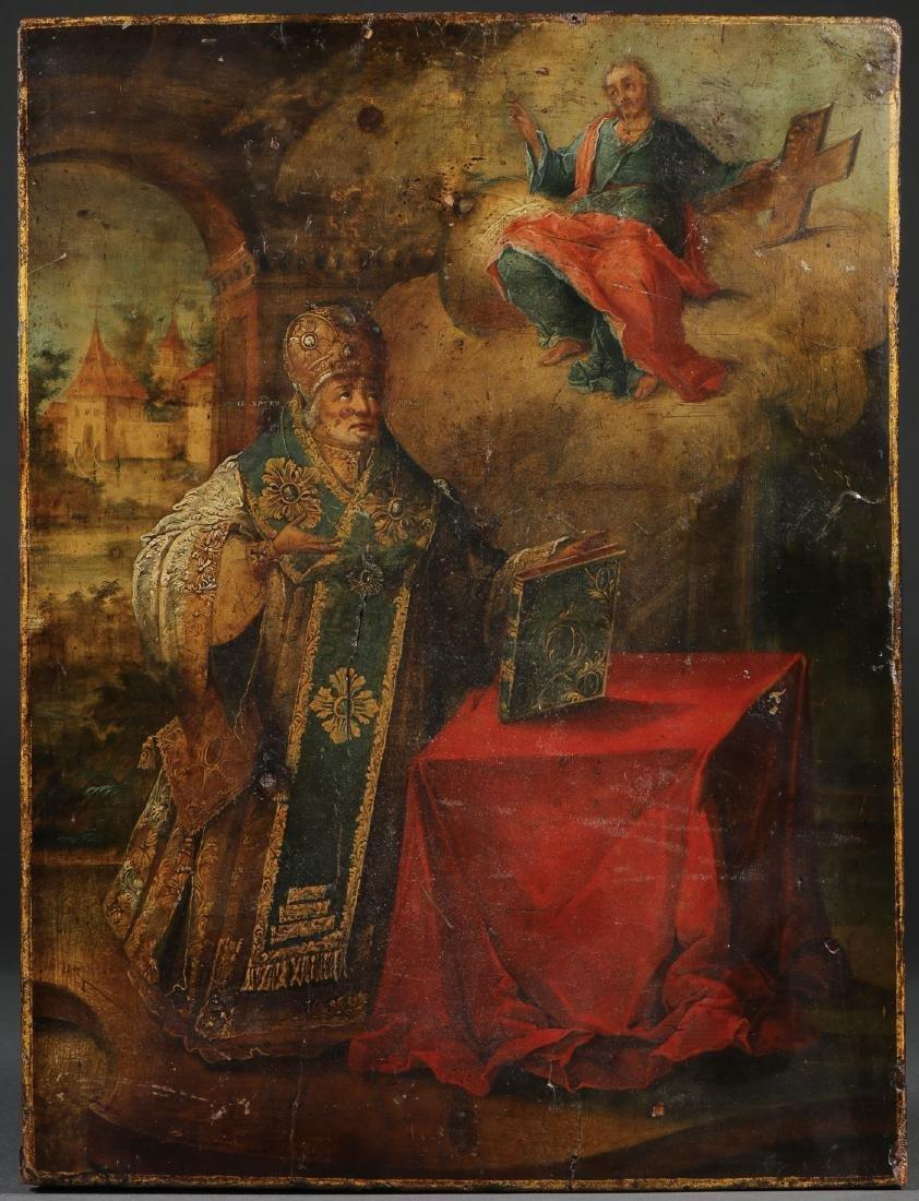 A RUSSIAN ICON OF ST NICHOLAS, CIRCA 1780
