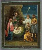 A RUSSIAN ICON OF THE NATIVITY 19TH CENTURY