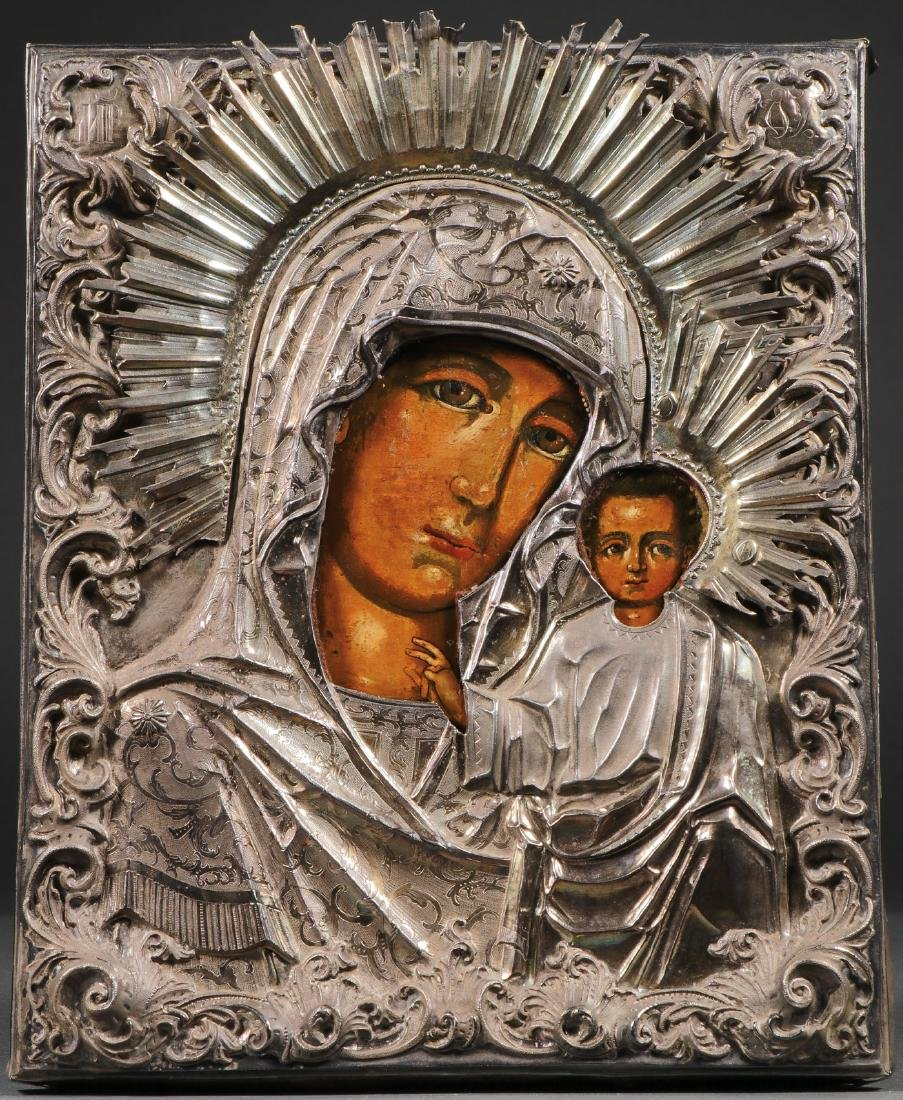 A RUSSIAN ICON OF THE KAZAN MOTHER OF GOD, 1857