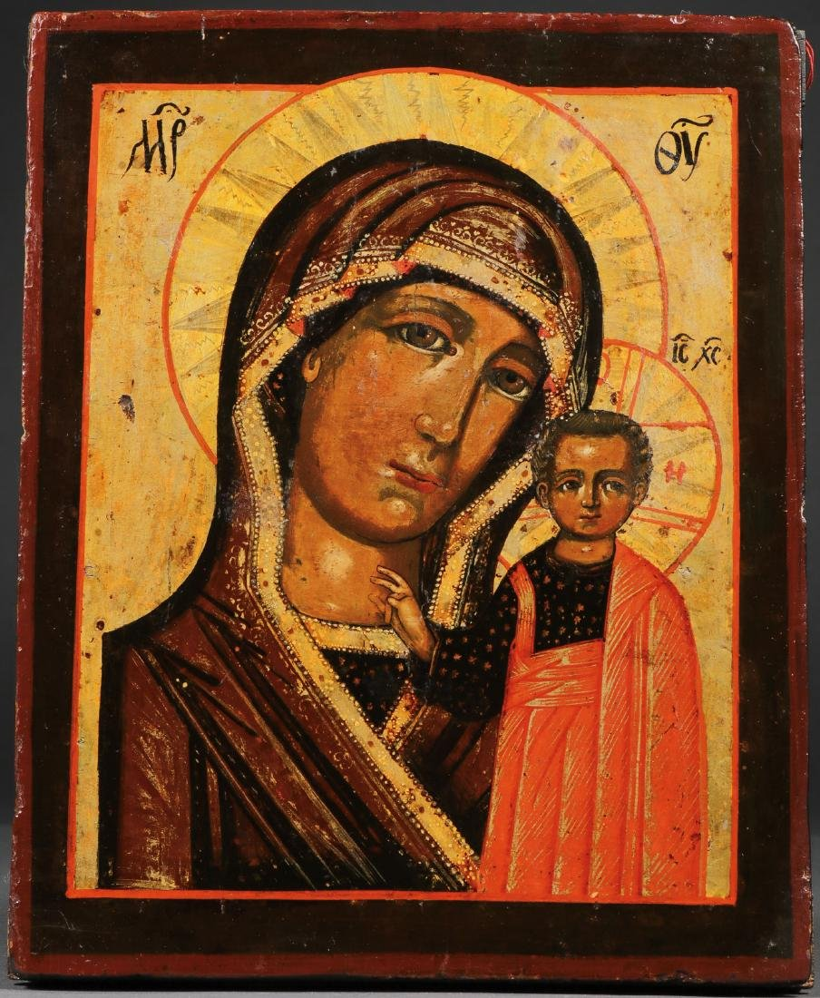 A RUSSIAN ICON OF THE KAZAN MOTHER OF GOD, 1857 - 2