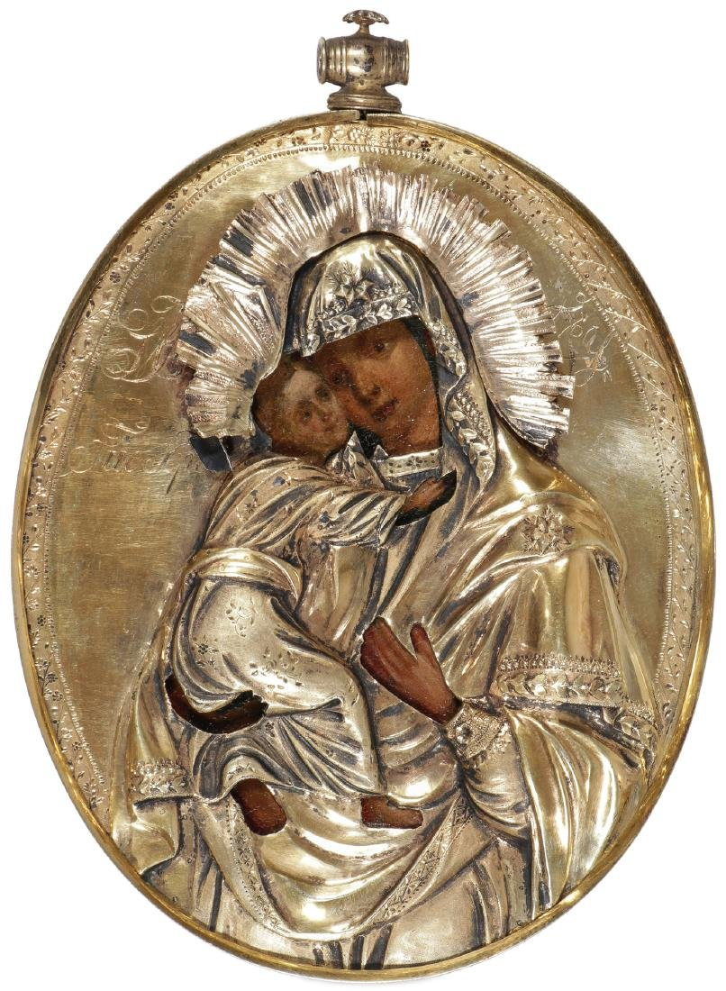LARGE RUSSIAN PENDANT ICON CIRCA 1800
