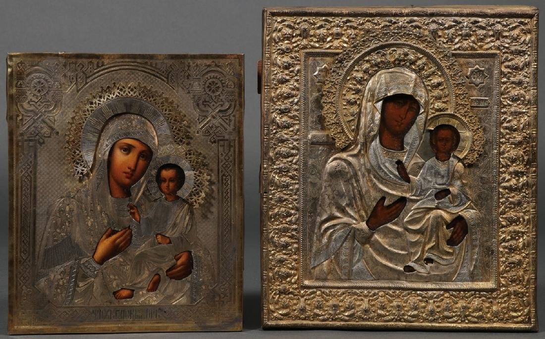 A PAIR OF MOTHER OF GOD RUSSIAN ICONS