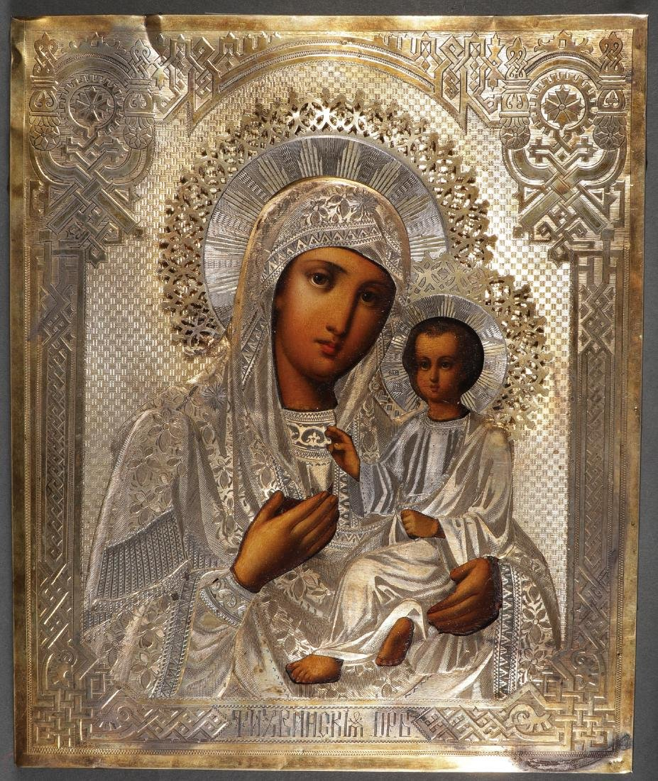 A PAIR OF MOTHER OF GOD RUSSIAN ICONS - 2