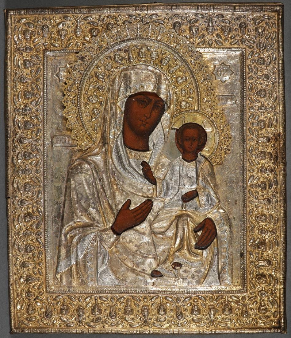 A PAIR OF MOTHER OF GOD RUSSIAN ICONS - 3