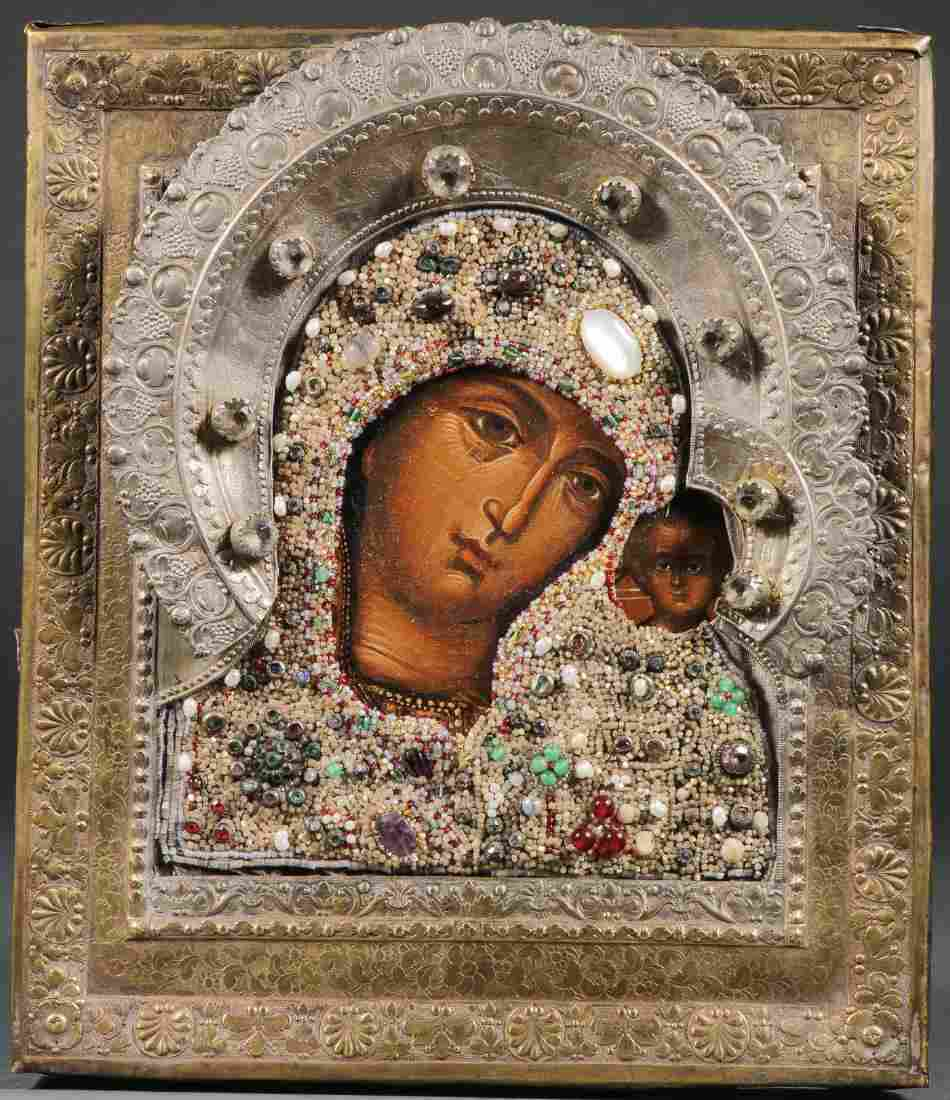 RUSSIAN ICON OF THE KAZAN MOTHER OF GOD, 19TH C