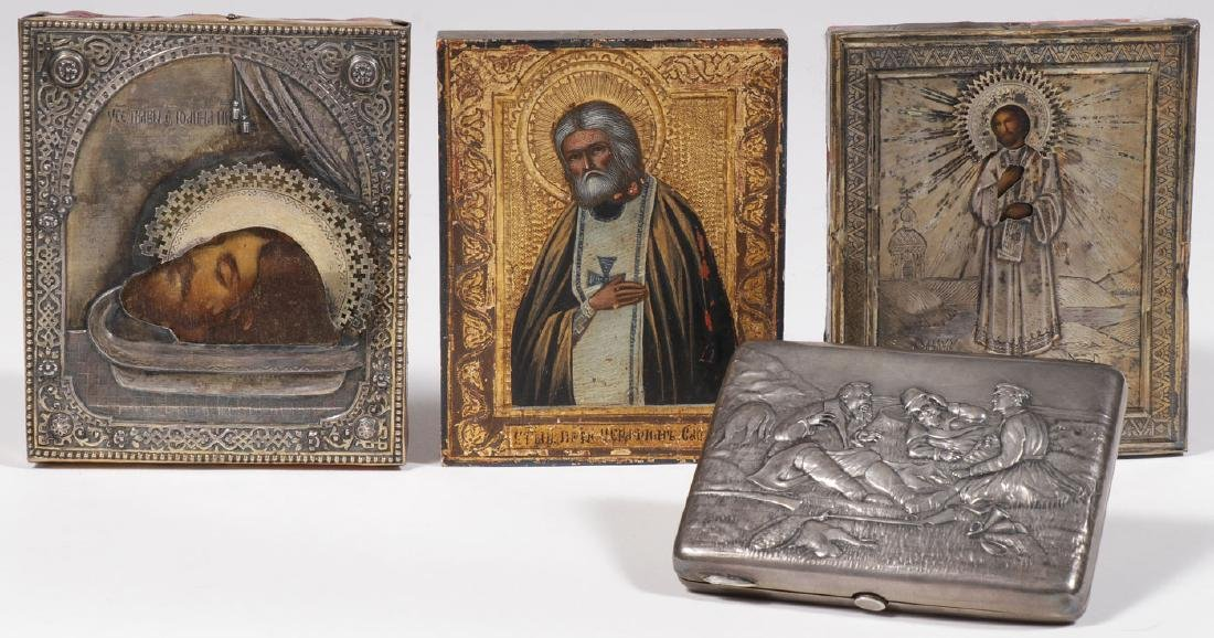 THREE RUSSIAN ICONS AND SILVER CASE, CIRCA 1890