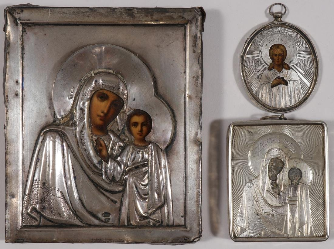 INTERESTING GROUP OF FOUR RUSSIAN ICONS, C 1875