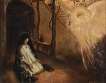 SIGNED & DATED ANNUNCIATION PAINTING