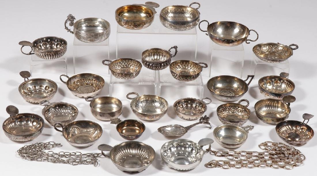 A GROUP OF 22 SILVER TASTEVIN, 19TH & 20TH C