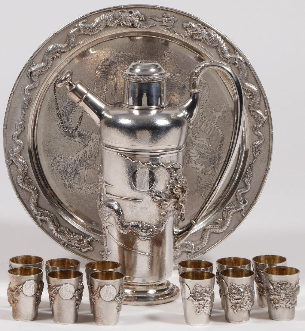 CHINESE EXPORT SILVER COCKTAIL SET, C 1925
