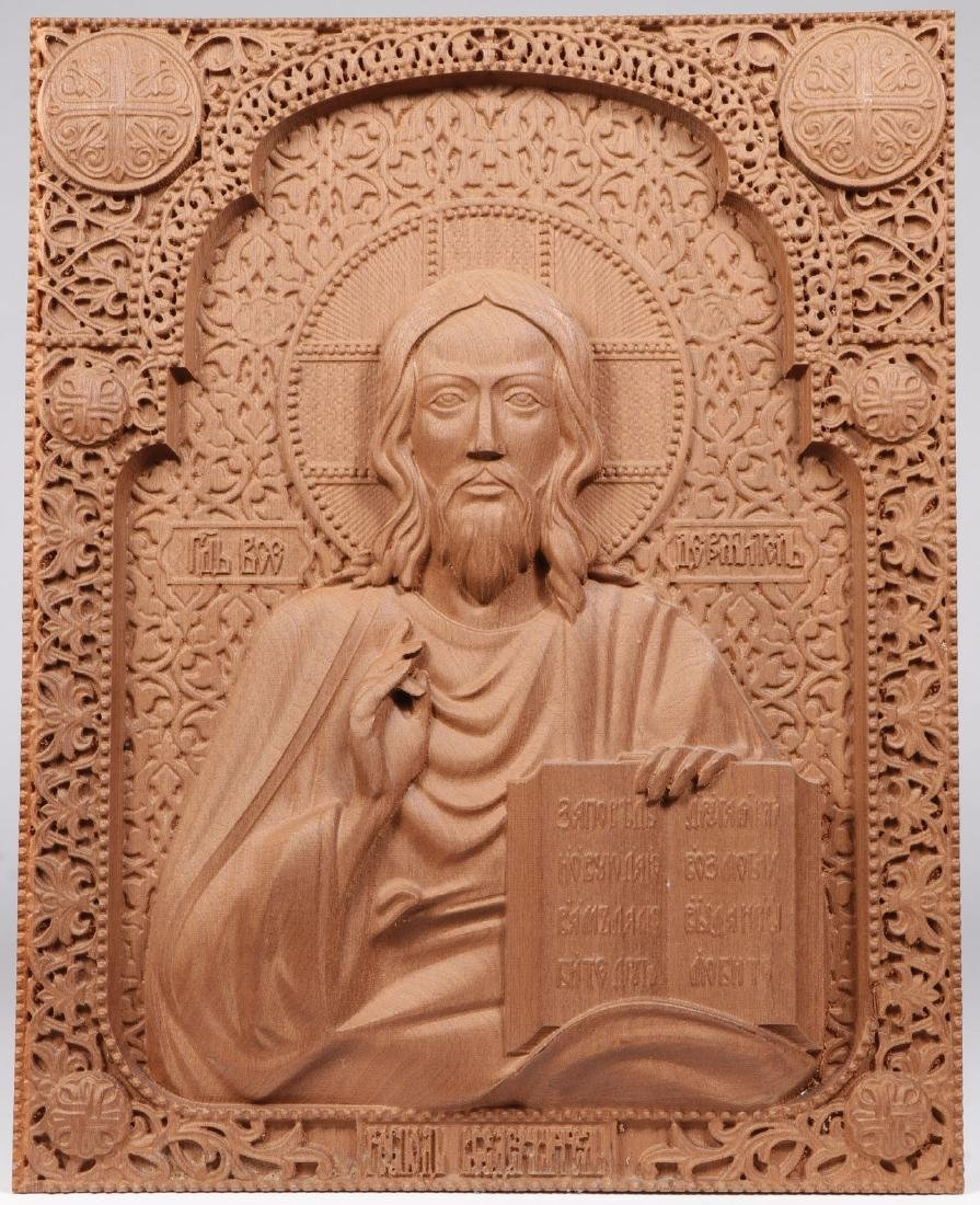 CARVED RUSSIAN ICON OF CHRIST