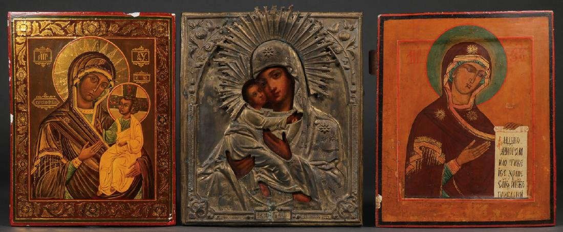 THREE RUSSIAN ICONS OF THE MOTHER OF GOD
