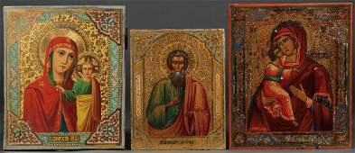 THREE RUSSIAN ICONS CIRCA 1880  1890