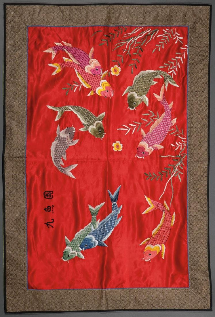 FOUR CHINESE EMBROIDERED SILK PANELS