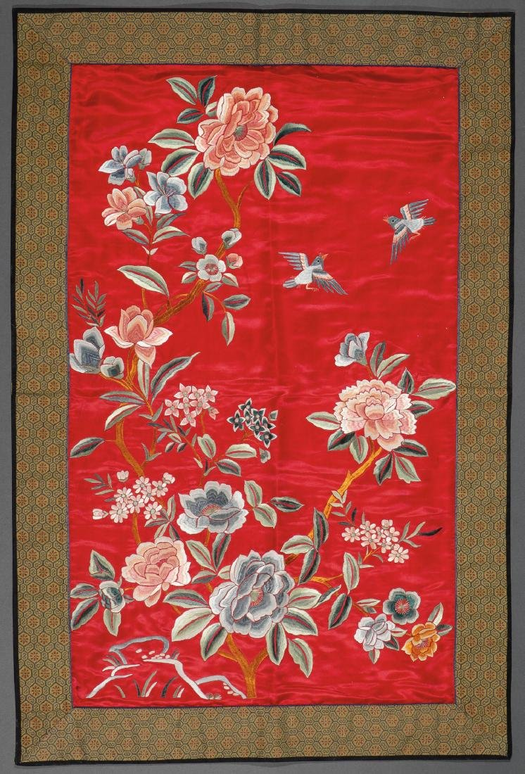FOUR CHINESE EMBROIDERED SILK PANELS - 2
