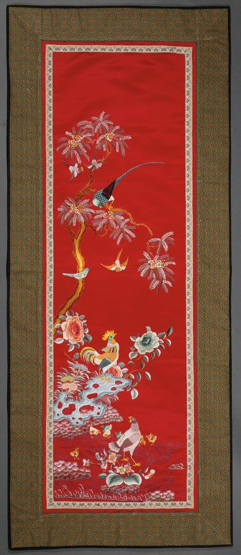 FOUR CHINESE EMBROIDERED SILK PANELS - 4