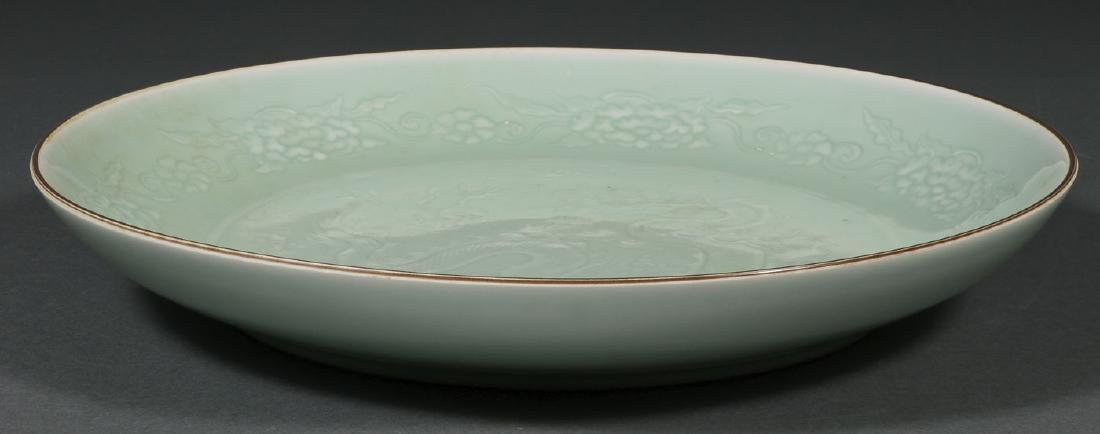 A LARGE CHINESE CELADON CHARGER - 3