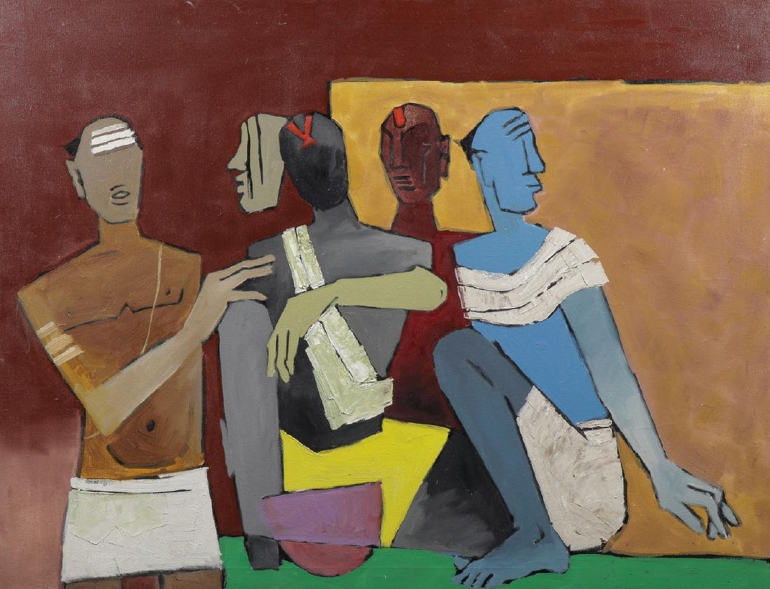 LARGE OIL ATTRIBUTED TO M.F. HUSAIN