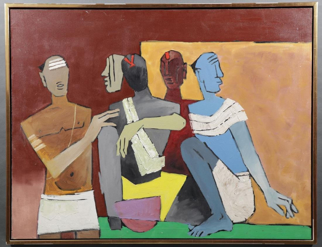 LARGE OIL ATTRIBUTED TO M.F. HUSAIN - 2
