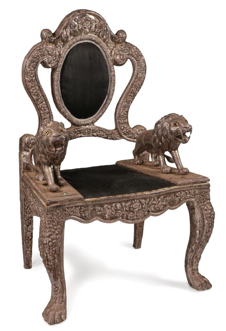 AN INTERESTING LION THRONE CHAIR, PROBABLY INDIA