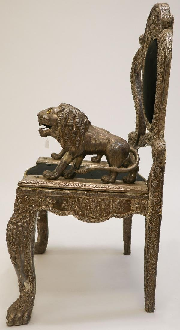 AN INTERESTING LION THRONE CHAIR, PROBABLY INDIA - 2