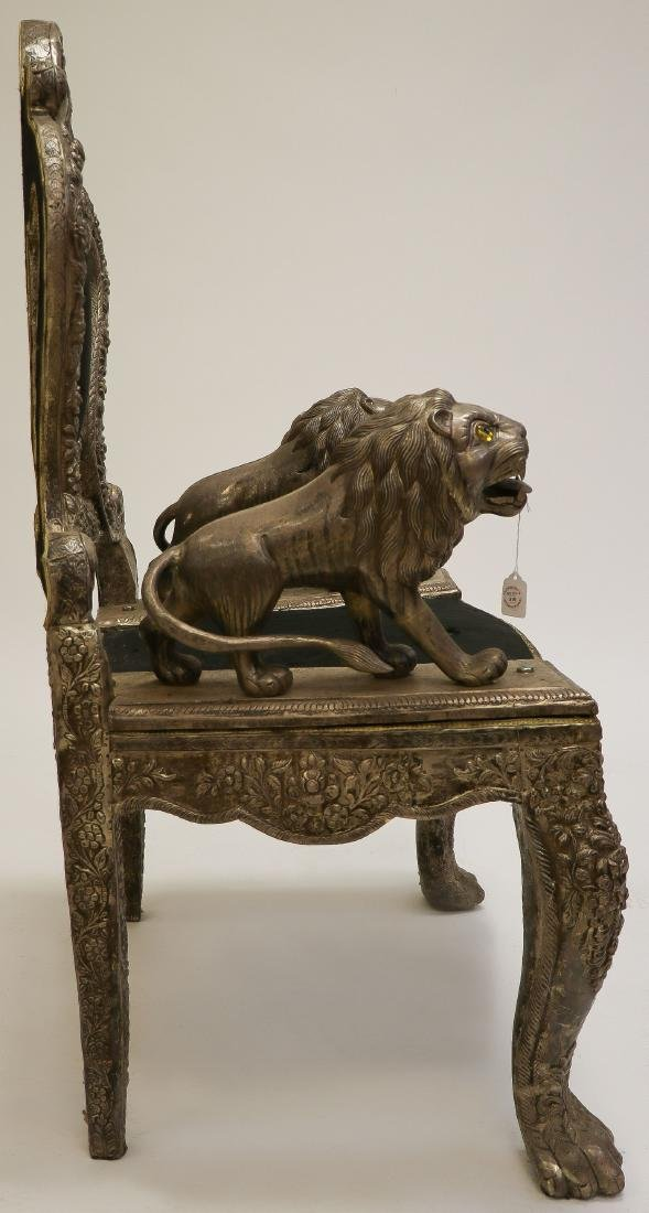 AN INTERESTING LION THRONE CHAIR, PROBABLY INDIA - 3