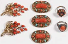 A GROUP OF CHINESE CORAL AND GILT SILVER JEWELRY