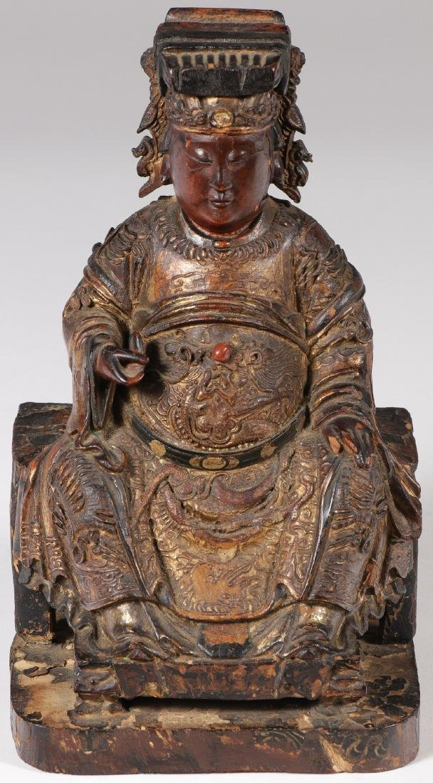 A CHINESE CARVED AND GILT WOOD FIGURE