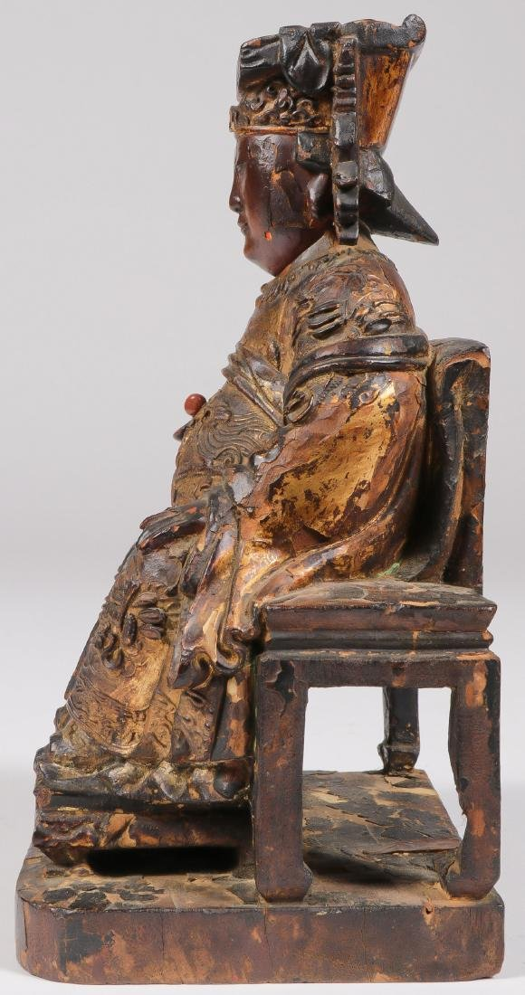 A CHINESE CARVED AND GILT WOOD FIGURE - 2