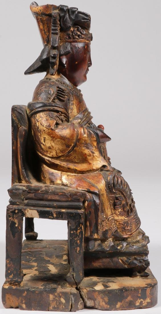 A CHINESE CARVED AND GILT WOOD FIGURE - 4