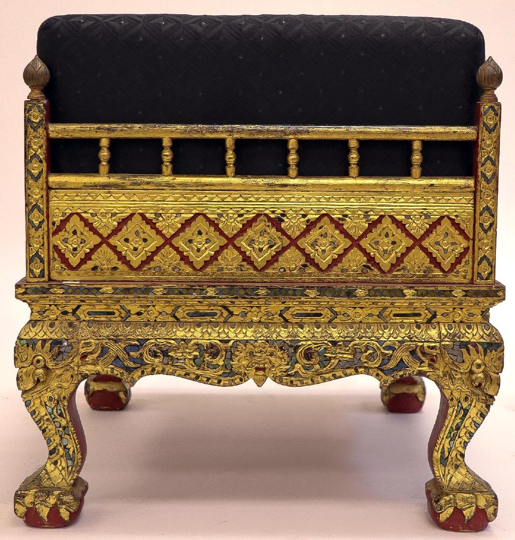 AN ORNATE CARVED GILT WOOD THAI ARMCHAIR - 2