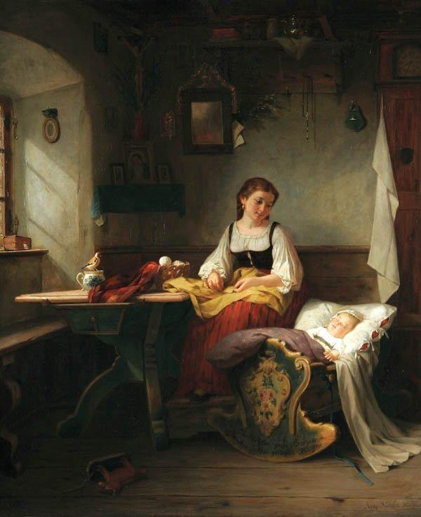 16: AUGUST MULLER , (German 1836-1885), Mother's Joy,