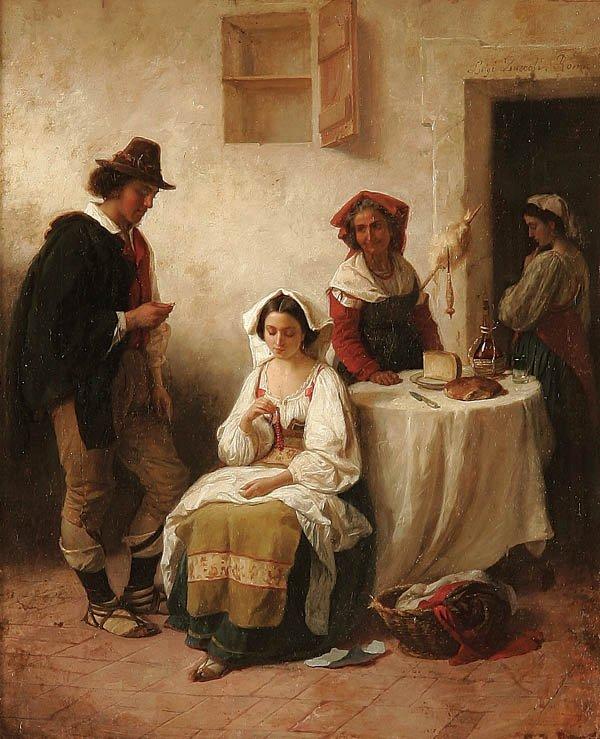 20: LUIGI ZUCCOLI (Italian 1815-1876), The Proposal,
